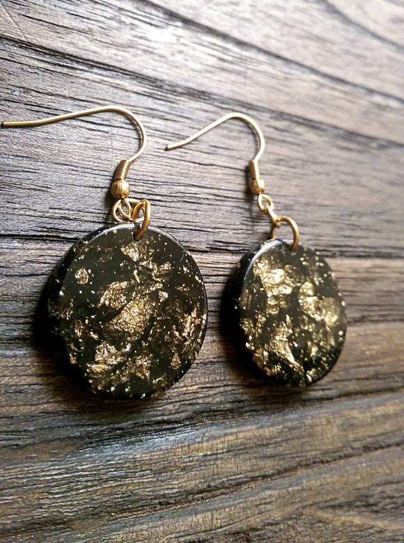 Black Circle Long Resin Earrings, Black Gold Leaf  Earrings, Gold Stainless Steel Earrings.