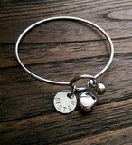 Personalised Hand Stamped Bangle with Puffy Heart Charm, Personalised Disc