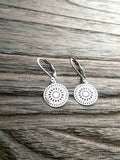 Circle Filigree Silver Stainless Steel Dangle Leverback Earrings. - Silver and Resin Designs