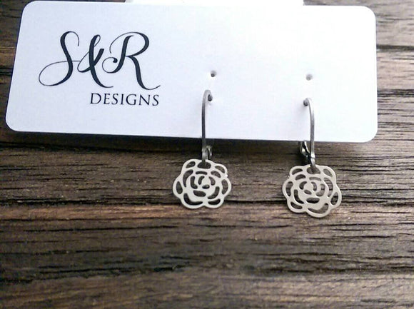 Rose Flower Filigree Silver Stainless Steel Dangle Leverback Earrings.