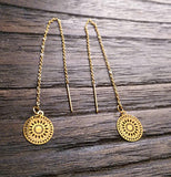 Circle Filigree Gold Stainless Steel Dangle Thread Earrings, Gold Thread Earrings.
