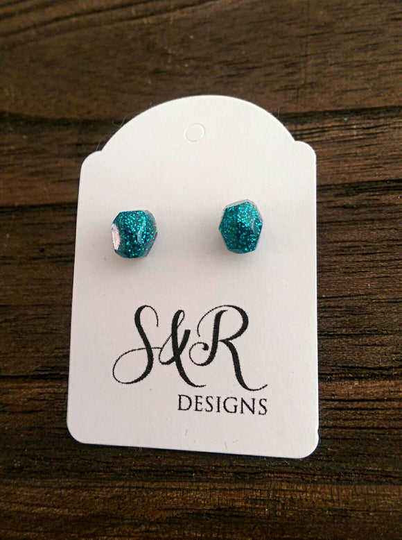 Gem Resin Stud Earrings, Gem Earrings, Teal Glitter Earrings made with Stainless Steel. - Silver and Resin Designs