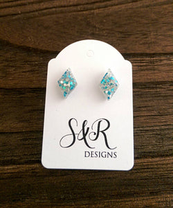 Diamond Resin Stud Earrings, Blue Glitter Earrings, Blue Silver Glitter Earrings made with Stainless Steel.