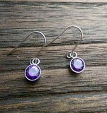 Purple Cubic Zirconia Dangle Bezel Earrings, CZ Dangle Earrings, Stainless Steel Hook Earrings - Silver and Resin Designs