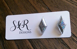 Diamond Gem Resin Stud Earrings, Holographic Silver Glitter Earrings, Stainless Steel Stud Earrings. - Silver and Resin Designs