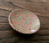 Ring Trinket Dish Christmas Green Red Sparkly Glitter Mix Hand Made Resin Dish