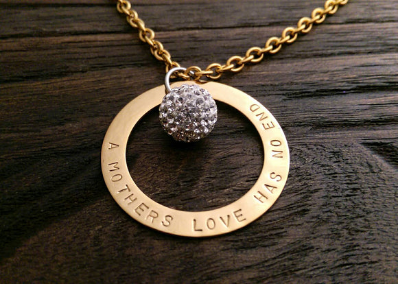 Personalised Name Hand Stamped Necklace Gold Stainless Steel with Crystal Ball - Silver and Resin Designs