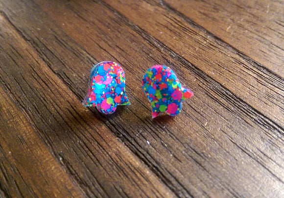 Bell Flower Resin Stud Earrings, Neon Mix Earrings. Stainless Steel Stud Earrings.