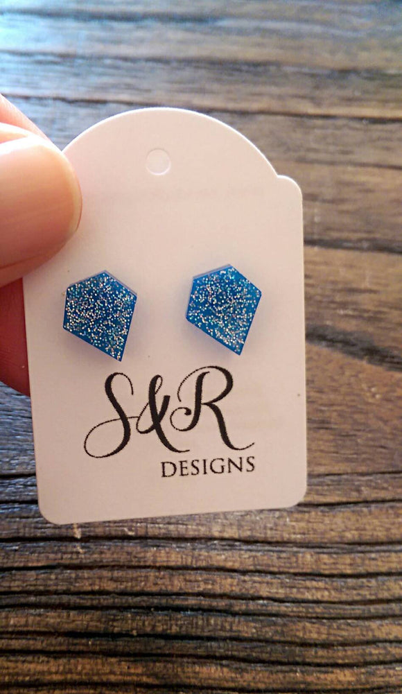 Diamond Cut Resin Stud Earrings, Blue Silver Holographic Glitter Earrings. Stainless Steel Stud Earrings.