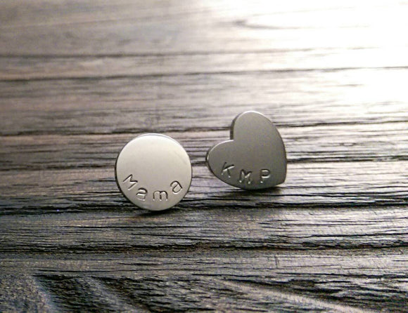 Hand Stamped Personalised Heart and Circle Disc Mix Match Stud Earrings Choose Silver, Gold or Rose Gold Stainless Steel