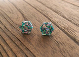 Hexagon Resin Stud Earrings, Holographic Silver and Green Earrings. Stainless Steel Stud Earrings. 10mm or 6mm