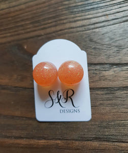 Resin Ball Stud earrings Light Orange Glitter Mix Earrings, stainless steel earrings 14mm