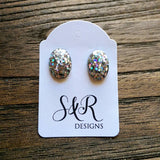 Oval Resin Stud Earrings, Holographic Silver Glitter Earrings, Stainless Steel Stud Earrings.