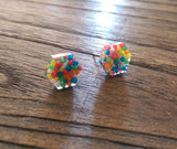 Hexagon Resin Stud Earrings, 100s & 1000s Candy Earrings. Stainless Steel Stud Earrings. 10mm