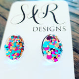 Oval Glass Glitter Resin Stud Earrings made of Stainless Steel, Teal Gold Pink Glitter Earrings