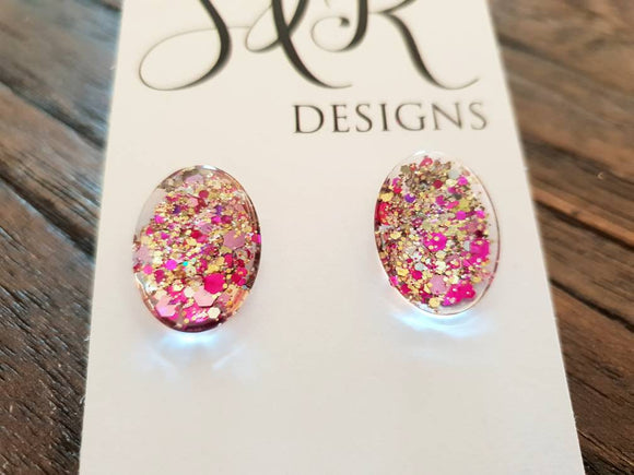 Oval Glass Glitter Resin Stud Earrings made of Stainless Steel, Gold Pink Glitter Earrings