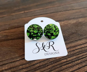 Green Chunky Glitter Circle Stud Earrings, Acrylic Earrings, Stainless Steel Earrings.