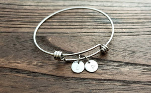 Personalised Initial Hand Stamped Charm Adjustable Bangle Stainless Steel