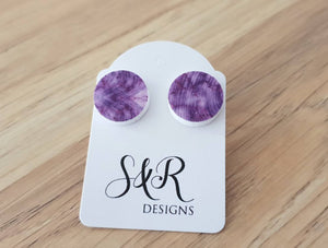 White Purple Circle Stud Earrings, Acrylic Earrings, Stainless Steel Earrings.