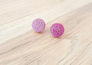 Rose Pink Glitter Stud Earrings, Acrylic Earrings, Stainless Steel Earrings.