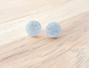Silver Glitter Circle Stud Earrings, Acrylic Earrings, Stainless Steel Earrings.