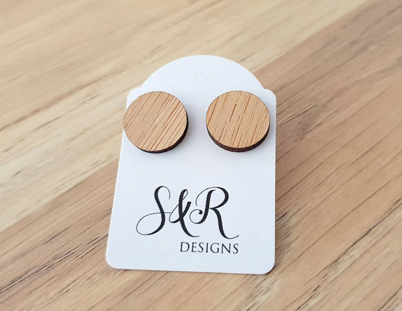 Bamboo Wood Circle Stud Earrings, Acrylic Earrings, Stainless Steel Earrings.
