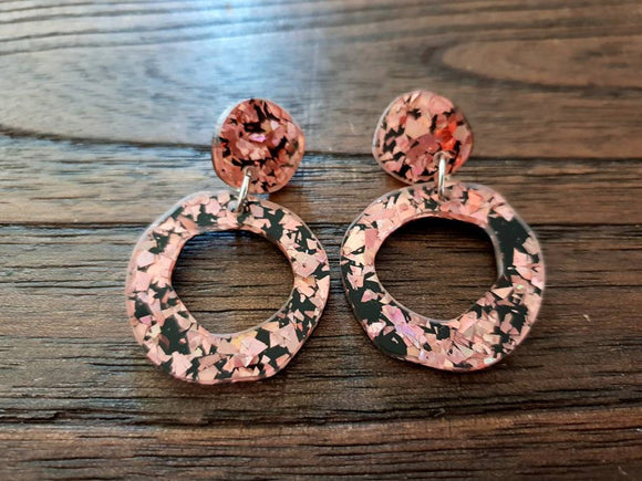 Statement Asymmetric Organic Circle Rose Gold Black Acrylic Dangle Earrings