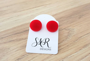 Red Circle Stud Earrings, Acrylic Earrings, Stainless Steel Earrings.