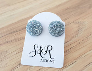 Silver Holographic Glitter Circle Stud Earrings, Acrylic Earrings, Stainless Steel Earrings.