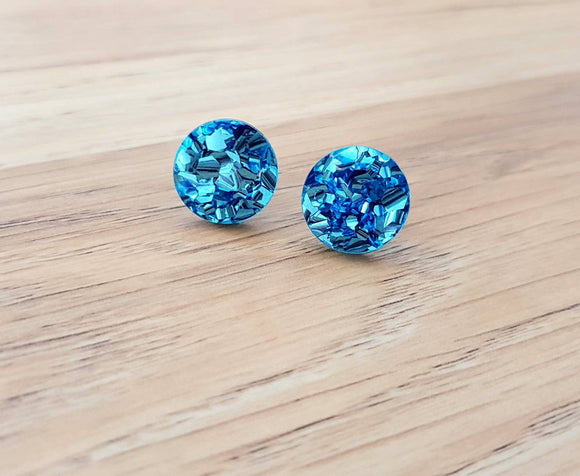 Baby Blue Chunky Glitter Circle Stud Earrings, Acrylic Earrings, Stainless Steel Earrings.