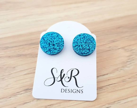 Aqua Blue Fine Glitter Circle Stud Earrings, Acrylic Earrings, Stainless Steel Earrings.