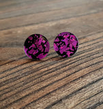 Violet Purple Black Shards Chunky Glitter Circle Stud Earrings, Acrylic Earrings, Stainless Steel Earrings.