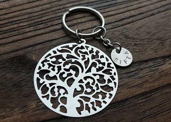 Tree of Life Filigree Personalised Hand Stamped Key Ring Stainless Steel