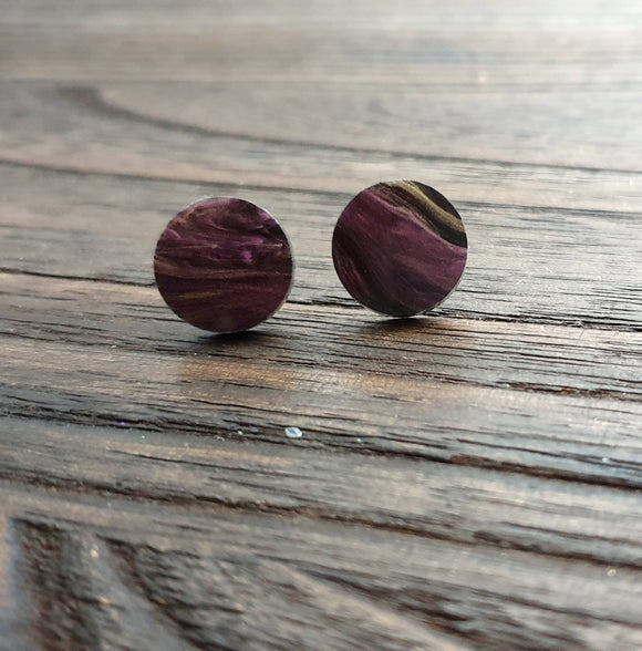 Purple Gold Black Swirl Marble Circle Stud Earrings, Acrylic Earrings, Stainless Steel Earrings.