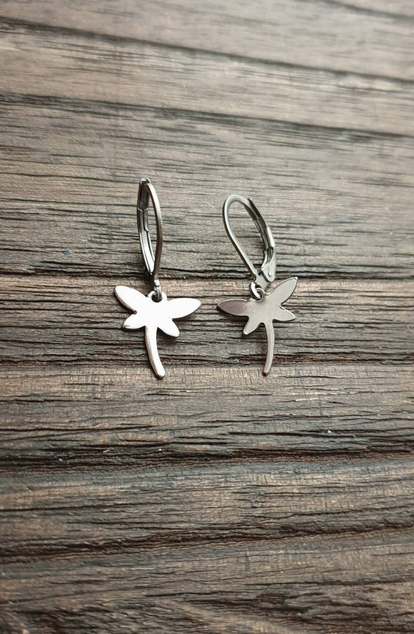Tiny Dragonfly Leverback Earrings, Stainless Steel Dangle Leverback or Hook Earrings.
