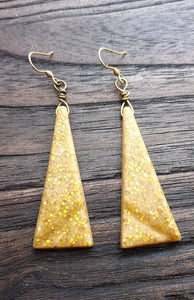 Resin Gold Glitter Triangle Dangle Earrings made of Stainless Steel