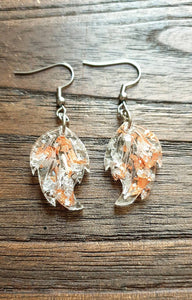 Leaf Resin Earrings, Rose Gold Silver Leaf Resin Earrings, Stainless Steel Earrings