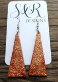 Sparkly Triangle Dangle Earrings made of Stainless Steel & Copper Glitter Resin.