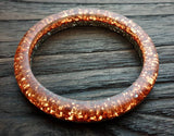 Silver Rose Gold Glitter Resin Bangle, Sparkly Glitter Resin Bangle Handmade 60mm inner diameter