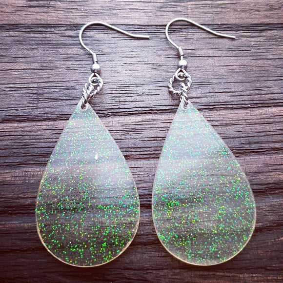Rainbow Glitter Resin Teardrop Dangle Statement Earrings