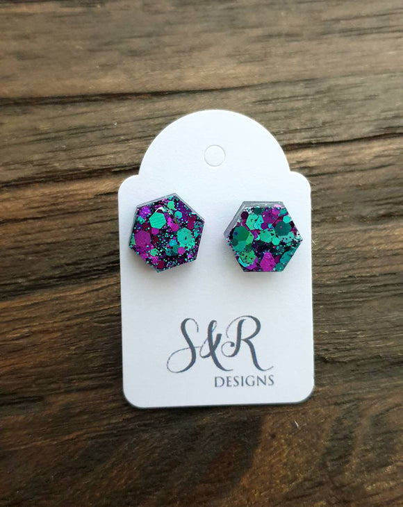 Hexagon Stud Earring, Resin Teal Purple Mix Earrings. Stainless Steel Stud Earrings. 10mm