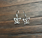 Butterfly Leverback Earrings, Stainless Steel Dangle Leverback or Hook Earrings.