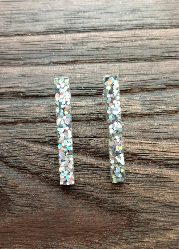 Long Bar Earrings, Holographic Glitter Earrings, Bar Resin Earrings, Stainless Steel Earrings, Statement Earrings