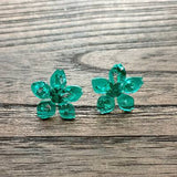 Flower Resin Earrings, Light Emerald Green Silver Leaf Earrings