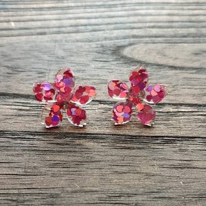 Flower Resin Earrings, Pink Purple Heart Glitter Earrings