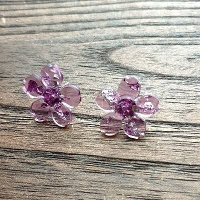 Flower Resin Earrings, Purple Silver Leaf Earrings