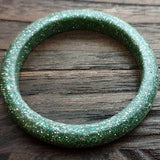 Green Silver Mix Glitter Resin Bangle, Sparkly Glitter Resin Bangle Handmade 60mm inner diameter