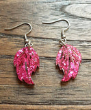 Glitter Leaf Resin Earrings, Hot Pink Resin Earrings, Stainless Steel Earrings