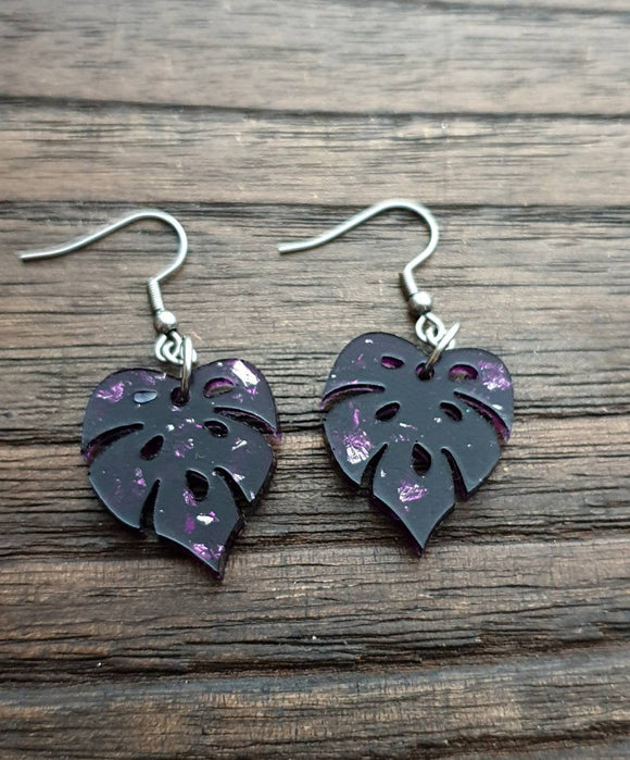 Monstera Leaf Resin Earrings, Purple Silver Leaf Earrings, Stainless Steel Earrings, Silver Leaf Earrings