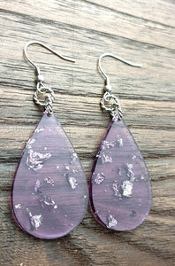 Silver Leaf mixed Purple Resin Teardrop Dangle Statement Earrings